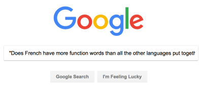GOOGLE - Does French have more function words